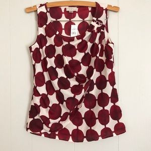 NWT Loft deep red and white dot top with ruffle